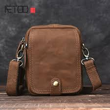 Flap Zipper <b>AETOO Handmade retro</b> mad horse skin bag mini men ...
