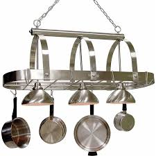cale 16 25 in w 3 light brushed nickel lighted pot rack with shade