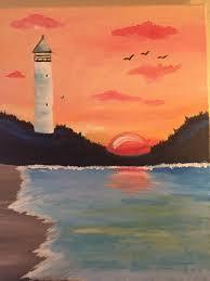 sunset lighthouse painting myrtle beach