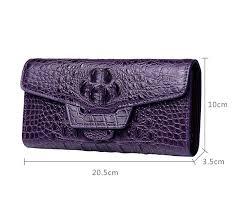crocodile leather clutch long purse leather wallet for women size