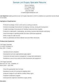resume sap ps - Unit Supply Specialist Resume