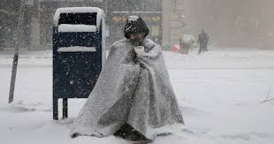 Image result for A homeless man in a snow Christmas night