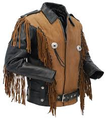 two tone black and brown fringe leather jacket