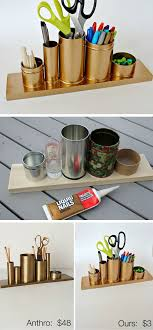 anthro inspired gold pencil holder 32 diy storage ideas for small spaces organization diy office storage ideas a51 office