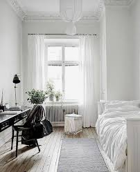White airy home office Scandinavian Serene And Airy Guest Bedroom With Lots Of White And Vintage Black Desk Plus Bloglovin 25 Cool Guest Bedroom And Home Office Combos Essentialsinside