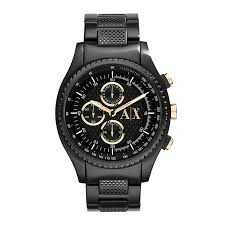 watches h samuel armani exchange men s black gold tone chronograph watch product number 2266830