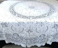 vintage white cotton lace tablecloth inch round style quaker baroness