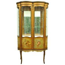 antique curio cabinet with curved glass french xv style martin curved glass vitrine curio display cabinet