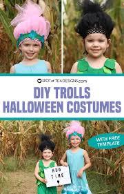 diy poppy and branch trolls costumes