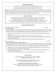 7 Best Photos Of Food And Beverage Manager Resume Example