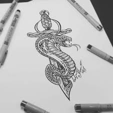 тату эскиз кинжал и змея эскиз нарисован мастером вадимом