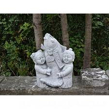 fun japanese koi fish with child cast stone garden statue frost resistant 9tu50it4x