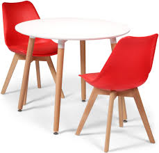 toulouse tulip eiffel designer dining set white round table 2 red chairs now on your furniture