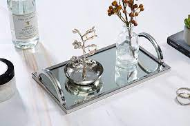 Hi dear friends old ore new hope you all are still healthy and safe, so happy you all took the time to come over to watch today i join kimberly and. Amazon Com Elegant Silver Mirror Tray With Chrome Edging And Handles Rectangle Vanity Tray Ideal For Ottoman Coffee Table Perfume Set Living Room Dining Room Jewelry Tray Whiskey Decanter Set