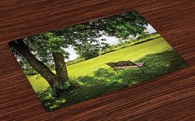 Amazoncom Ambesonne Tree Place Mats Set Of 4 Wooden Bench Under