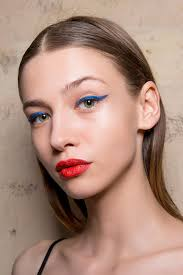 gold eyeshadow and pink lipstick blue eyeliner and red lipstick
