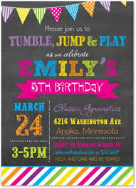 kids birthday party invitations gymnastics invitations tumble jump flip birthday party