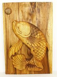 fish carved wood panel oak finished thai art on wood carved fish wall art with fish wall decor hand carved monkey pod wood thai art 20 x 30