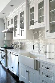 white subway tile backsplash all white kitchen with mini subway tile white beveled subway tile backsplash