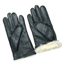 fownes men s rabbit fur lined black napa leather gloves