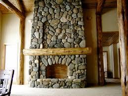 washington bar river rock fireplace