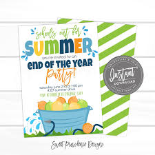 End Of School Summer Party Invite