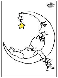 Baby En Maan Kleurplaat Kinderen