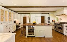 wood island top in white kitchen