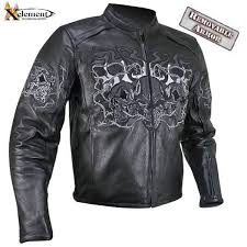 reflective evil triple flaming skulls cruiser armored motorcycle jacket b95010 s