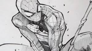 black and white art sketches drawing spiderman with 2b graphite pencil of black and white art