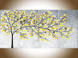 weeping willow by qiqigallery 48 x 24 original landscape art yellow grey painting contemporary wall art large modern art impasto canvas art original