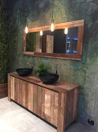 reclaimed lighting fixtures. Black Round Vessel Sink And Washed Reclaimed Wood Vanity Edison Lighting Fixtures