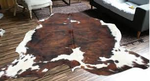 area rug cowhide brown white 5 7
