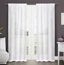 com exclusive home curtains zurich embroidered semi sheer rod pocket window curtain panel pair winter white 50x84 home kitchen