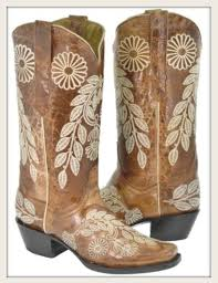 tan fl embroidery on cognac brown boho genuine leather boots