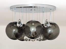 mid century modern pair of smoke and clear glass bubbles chrome flush mount