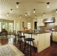 traditional kitchen lighting ideas. Flush Mount Ceiling Kitchen Lighting Ideas Over Traditional Design With Subway Ceramic Tile Backsplash And Island Seating