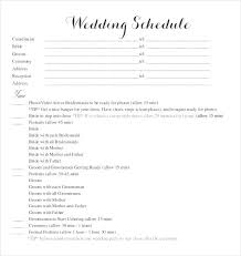 Free Wedding Schedule Template Templates Samples Doc Blank