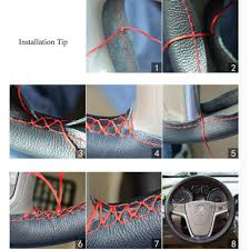 Comfortable Leather Anti-Slip Sewing <b>Car Steering wheel Cover</b> ...