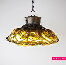 Hand Blown Stained Glass Wrought Iron Pendant Light Hanging