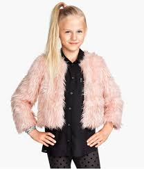 h m faux fur jacket light pink kids