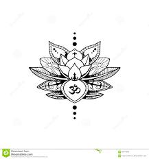 лотос татуировки и знак Aum буддизм иллюстрация вектора