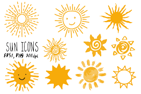 Sun Pattern Mesmerizing Doodle Sun Icons Set Graphic Objects Creative Market