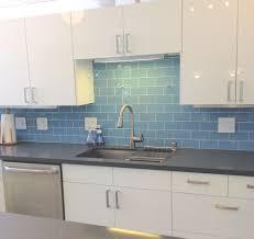 kitchen backsplash tile ideas subway white glass large sky blue modern ceramic wall black clear