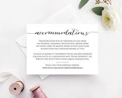 wedding accommodations template accommodations card insert wedding information card template diy