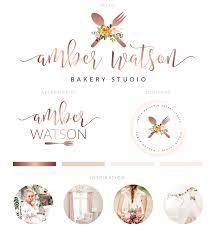 Rose Gold Cake Logo Bakery Logo Branding Kit Calligraphy Logo