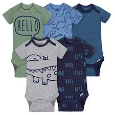 Gerber Boys 5 Pack Onesies Brand Short Sleeve Bodysuits