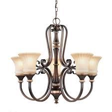 hampton bay 17265 reims 5 light berre walnut chandelier 1 of 1 see more