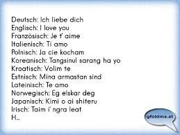 Deutsch Ich Liebe Dich Englisch I Love You Französisch Je T Aime