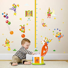Child Height Chart For Wall Winhappyhome Circus Cute Clown Children Height Measurement
